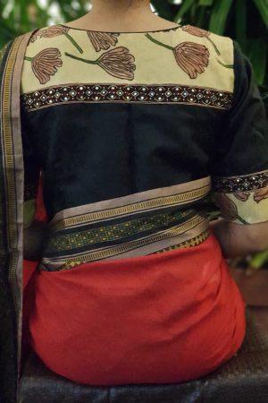 Black silk kalamkari blouse back