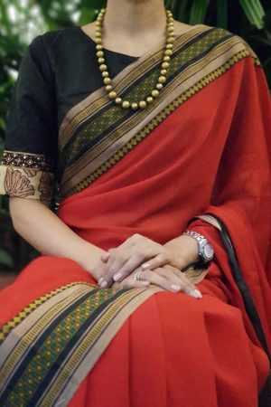 Black silk kalamkari blouse front