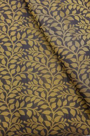 Black thread woven floral design kanchi silk fabric