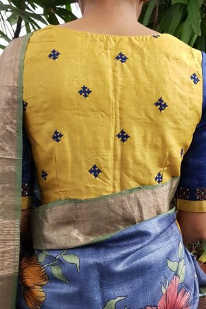 Blue yellow kutch work blouse back