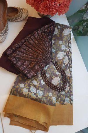 Brown mustard floral print tussar saree