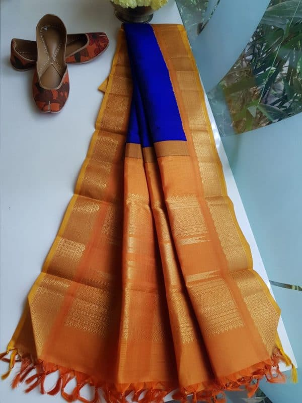Dark blue kanchi silk dupatta with mustard border