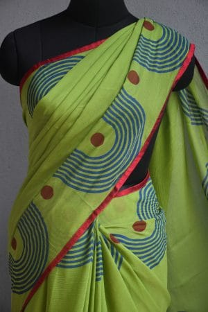 Green chiffon block print saree 3