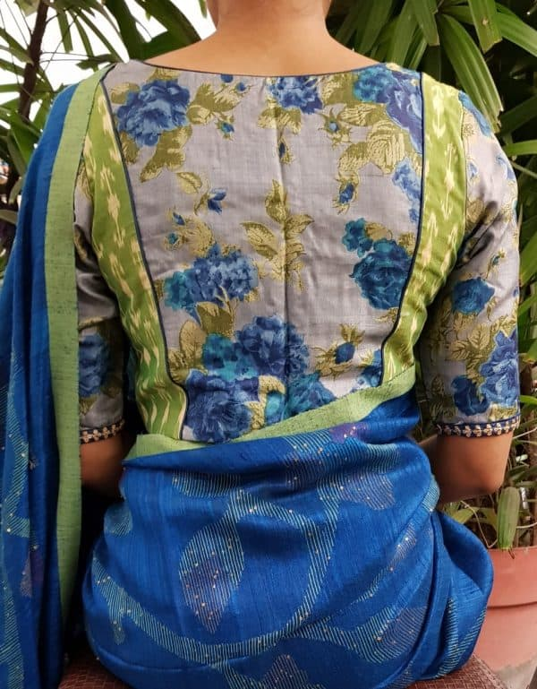 Green ikat and tussar blouse back
