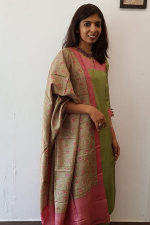 Green tussar suit with printed dupatta