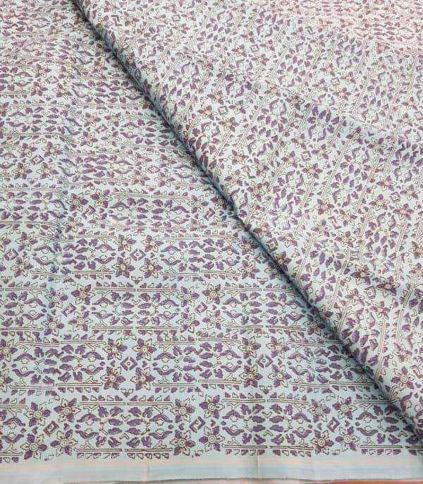 Light blue printed kanchi silk fabric