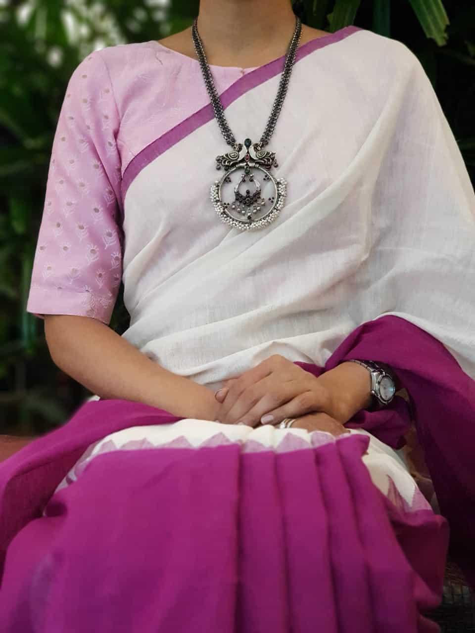 Lilac chandheri blouse front