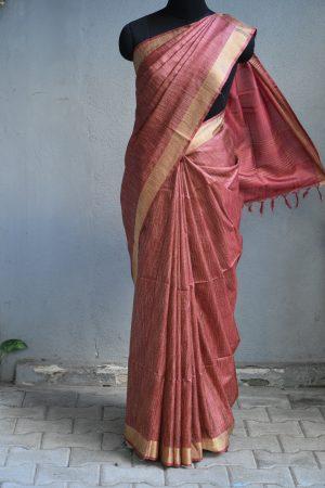 Maroon thread woven tussar saree 2