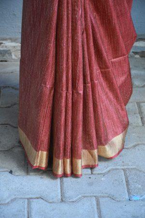 Maroon thread woven tussar saree 4