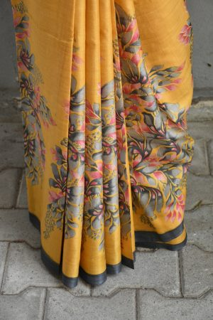 Mustard abstract floral print tussar saree 2