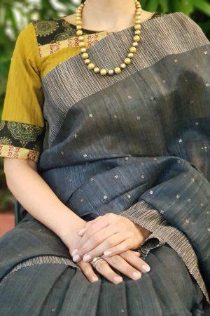 Mustard ajrakh silk blouse front