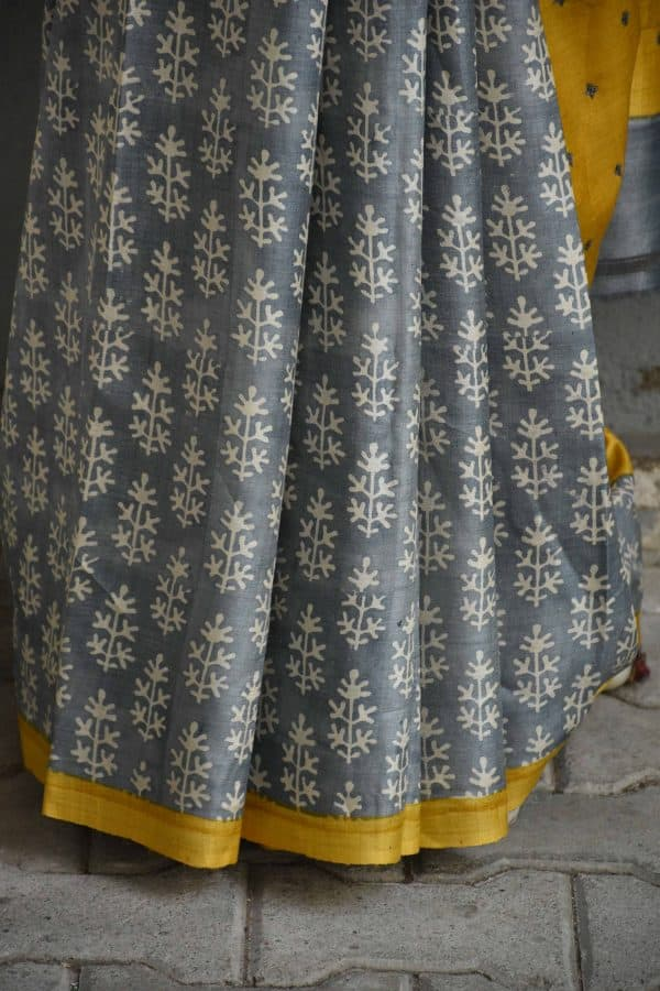 Mustard and grey partly kutch work tussar saree