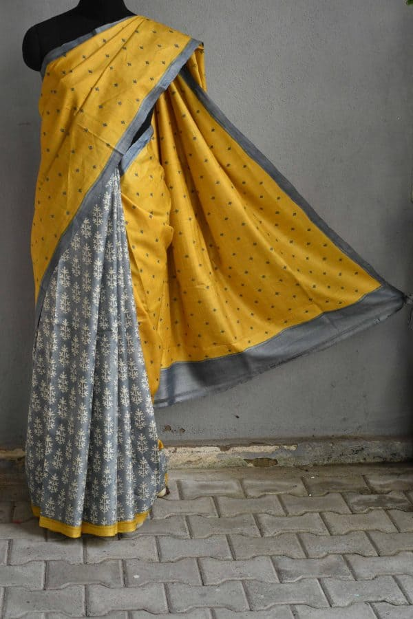 Mustard and grey partly kutch work tussar saree 1