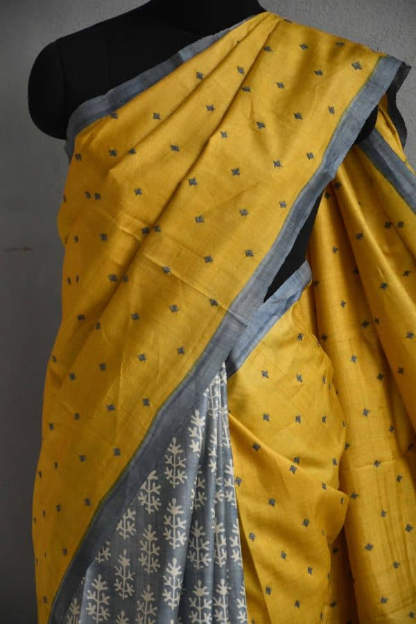 Mustard and grey partly kutch work tussar saree 2