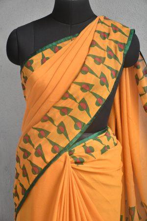 Mustard block print chiffon saree 3