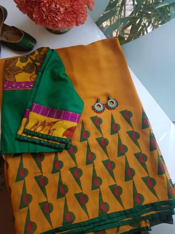 Mustard block print chiffon saree 6