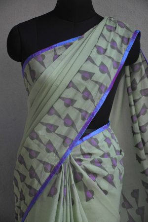 Pale green chiffon block print saree 3