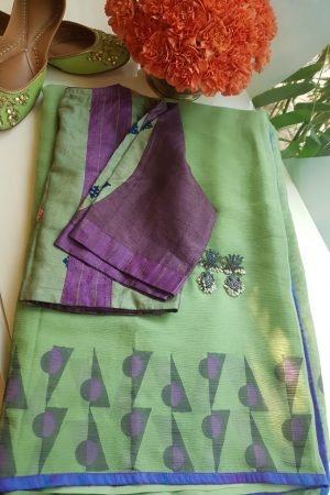 Pale green chiffon block print saree 6