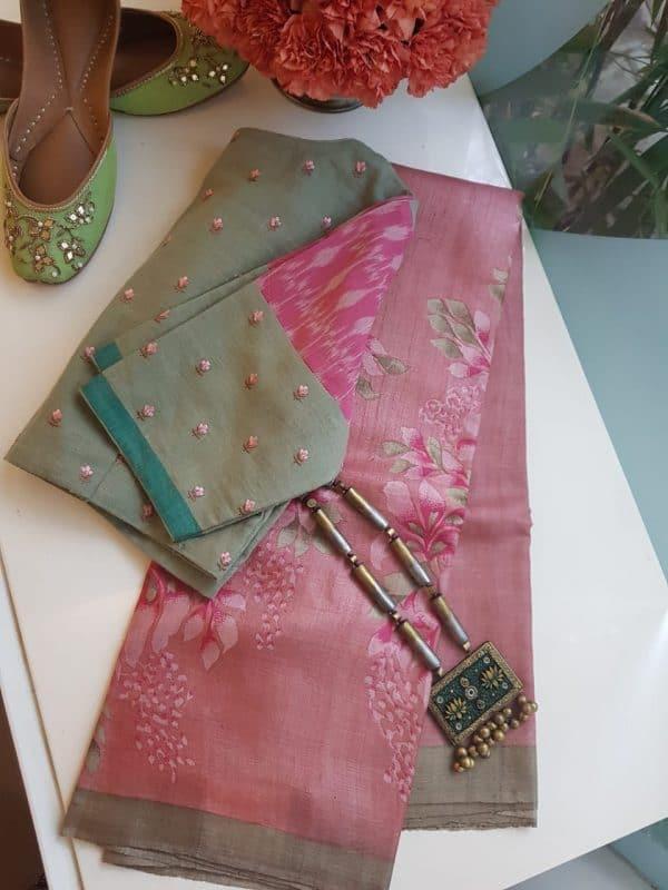 Pastel pink floral block print tussar saree