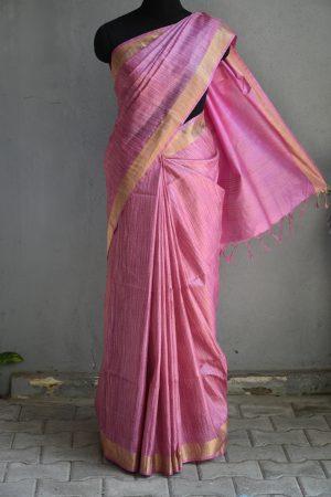 Pastel pink thread woven tussar saree