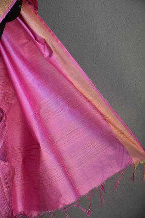 Pastel pink thread woven tussar saree 4
