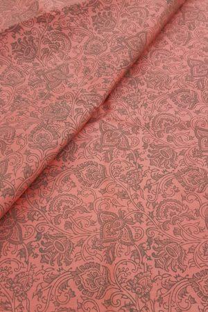 Peach printed kanchi silk fabric
