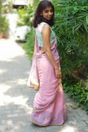 Pink chiffon block print saree 2