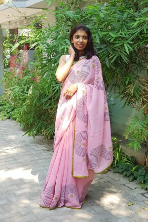 Pink chiffon block print saree