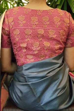 Pink cutwork blouse back