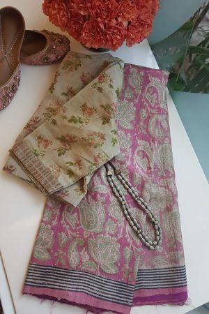 Pink floral print tussar saree