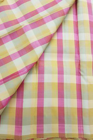 Pink kanchi silk checks fabric