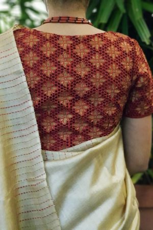 Red cutwork blouse back