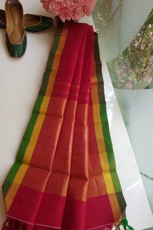 Red kanchi silk dupatta with green border