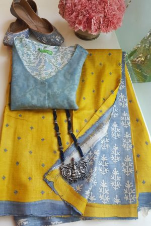 Yellow tussar saree with kutch work