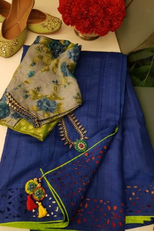 bLUE CUTWORK TUSSAR SAREE