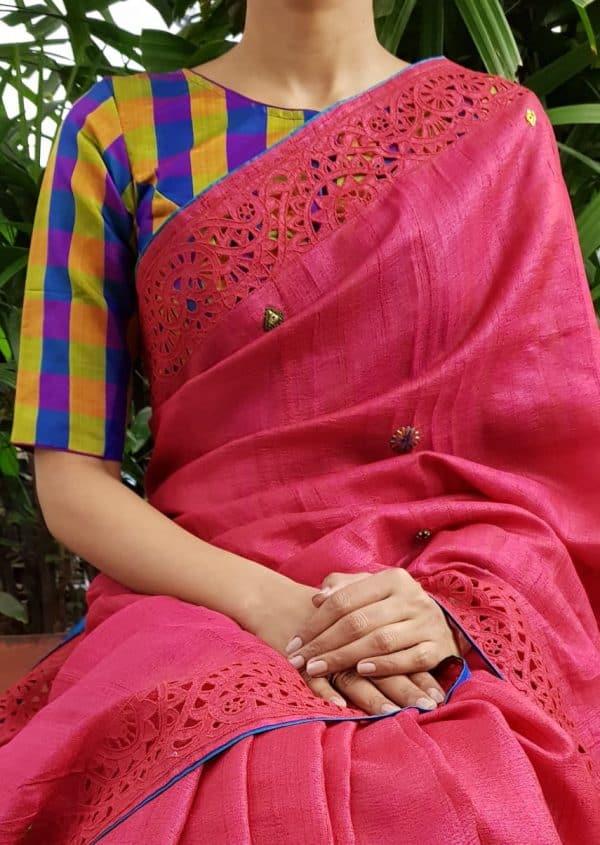 blue mustard checks silk blouse front