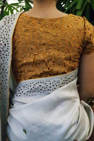 golden cutwork blouse back
