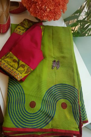 green chiffon block print saree 7q