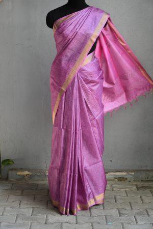 lilac thread woven tussar saree