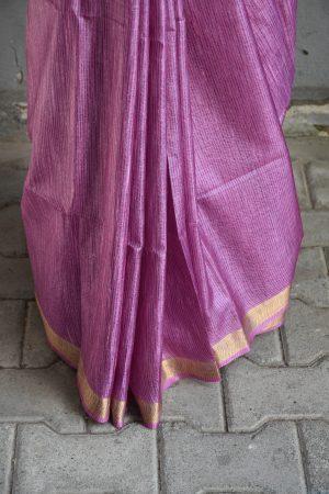 Lilac thread woven tussar saree 4