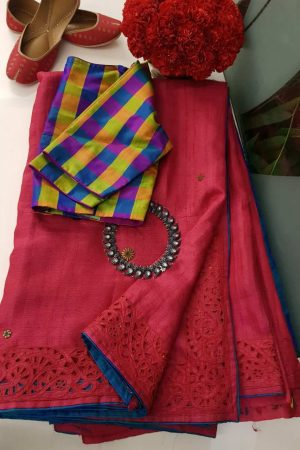 rED CUTWORK TUSSAR SAREE