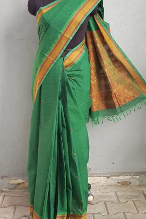 BOTTLE GREEN KANCHI COTTON SAREE WITH BUTTIS 1
