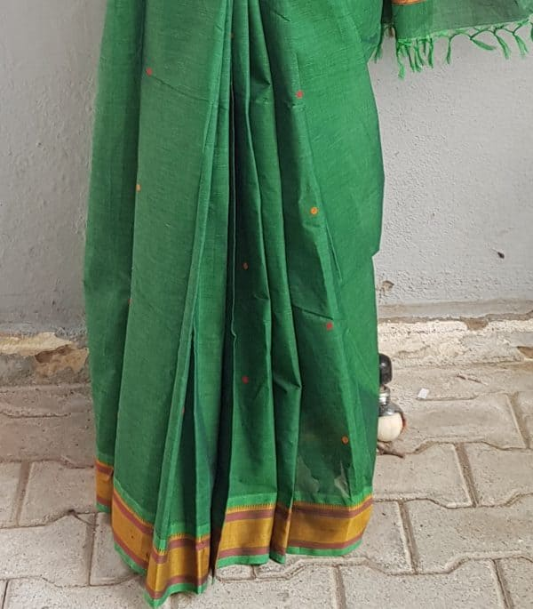 BOTTLE GREEN KANCHI COTTON SAREE WITH BUTTIS 2