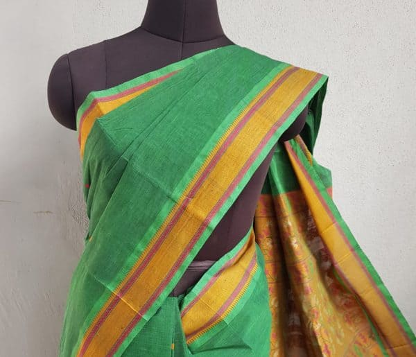 BOTTLE GREEN KANCHI COTTON SAREE WITH BUTTIS 3