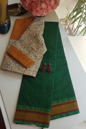 BOTTLE GREEN KANCHI COTTON SAREE WITH BUTTIS