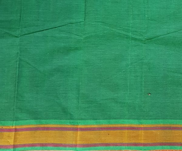 BOTTLE GREEN KANCHI COTTON SAREE WITH BUTTIS 4