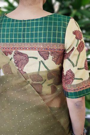 Beige kalamkari silk blouse 2]