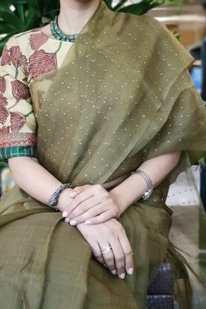 Beige kalamkari silk blouse