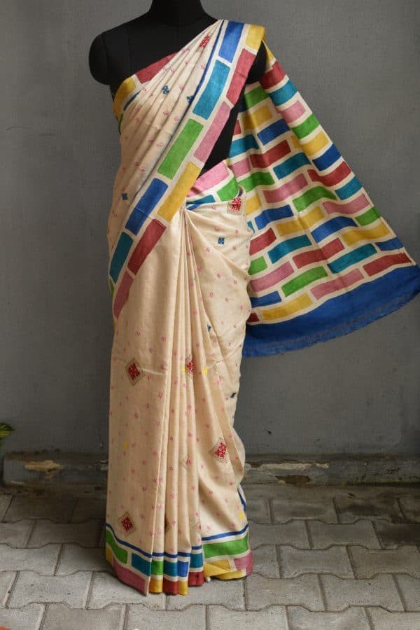 Beige with multi colour block printed kutch work saree