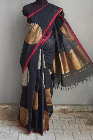 Black kanchi cotton saree with gold and silver zari 1Black kanchi cotton saree with gold and silver zari 1